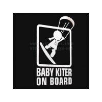 Baby kiter surfer on board girl