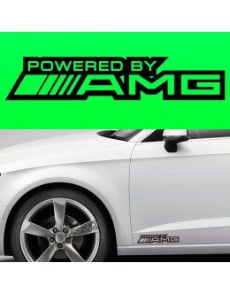 POWERED BY AMG MERC CAR BODY SKIRT VINYL STICKER DECAL