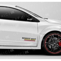 2 stickers for Renault, Renault Sport with three different color strips